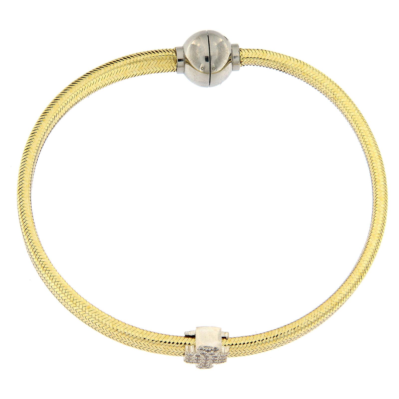 Bracciale lurex oro angelo argento 925 AMEN 4