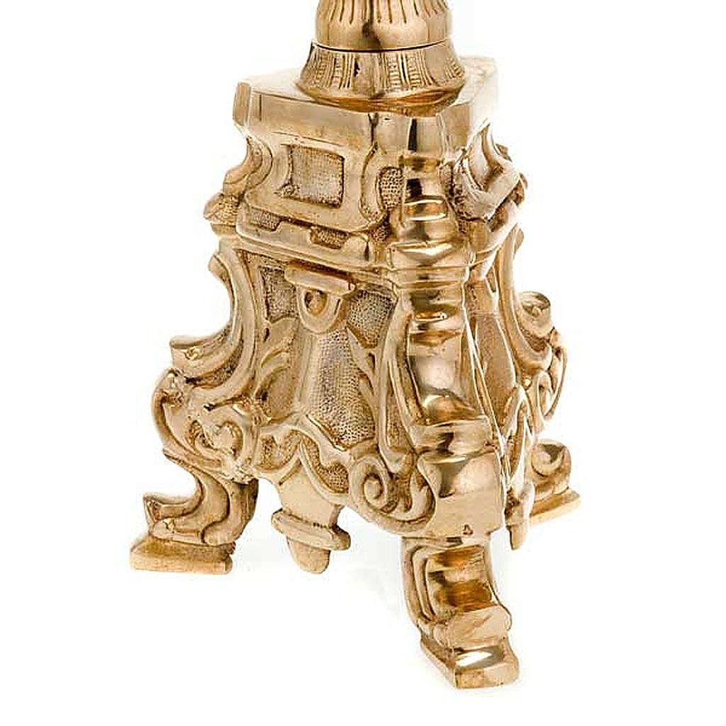 Base porta-círio estilo rococó latão dourado 4