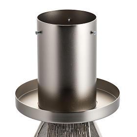 Base cierge pascal style moderne bronze moulé argenté s2