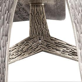 Base cierge pascal style moderne bronze moulé argenté s4