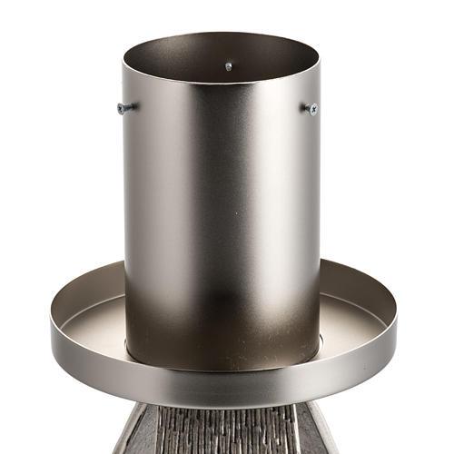 Base cierge pascal style moderne bronze moulé argenté 2