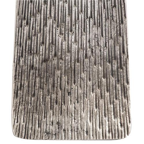 Base portacero pasquale moderna in bronzo fuso argentato 3