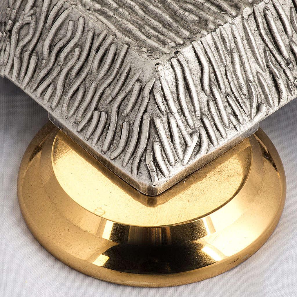 Base porta cirio pascual bronce con ángel 4