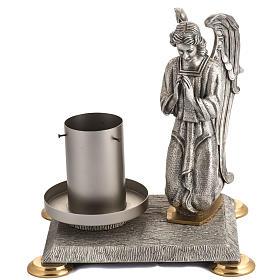 Base porta cirio pascual bronce con ángel s1