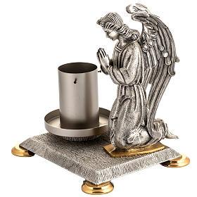 Base porta cirio pascual bronce con ángel s2