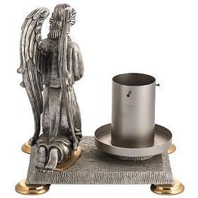 Base porta cirio pascual bronce con ángel s6