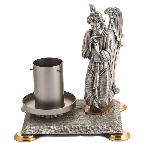 Base porta cirio pascual bronce con ángel 1