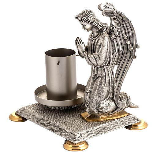 Base porta cirio pascual bronce con ángel 2