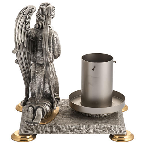 Base porta cirio pascual bronce con ángel 6