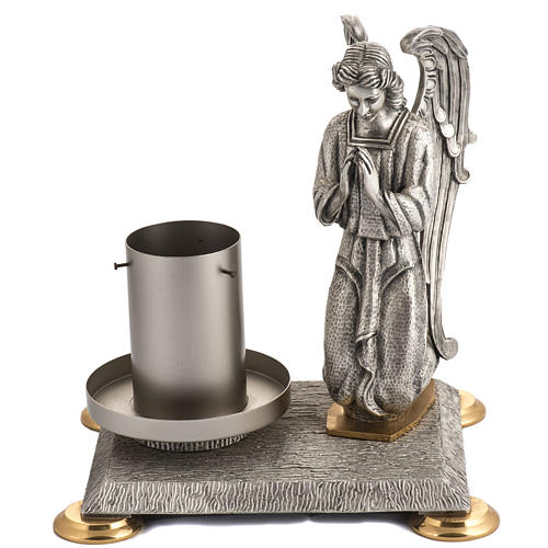 Modern Paschal Candle Holder in bronze with angel 1