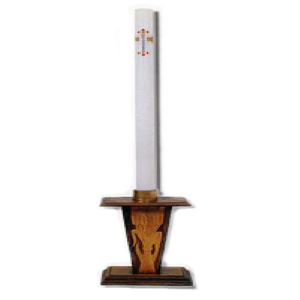 Easter candle holder in wood with ears of wheat image 4