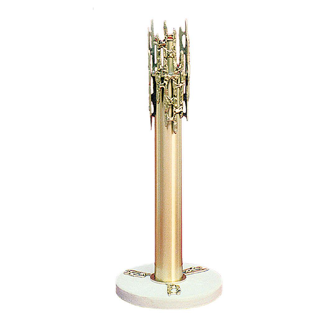 Portacero ottone fuso 70 cm con base marmo 4