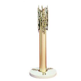 Portacero ottone fuso 70 cm con base marmo s1