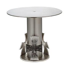 Monstrance throne, silver base for monstrance with cross s1