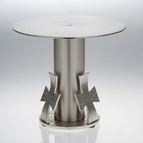 Monstrance throne, silver base for monstrance with cross s2