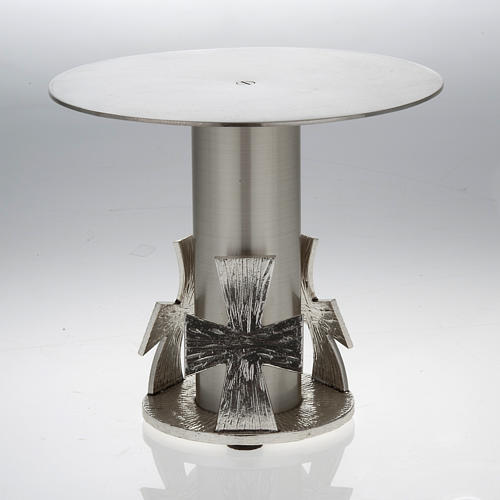 Monstrance throne, silver base for monstrance with cross 1