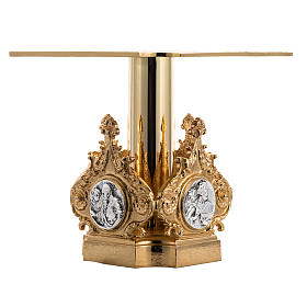 Monstrance throne in brass with 4 evangelists s2