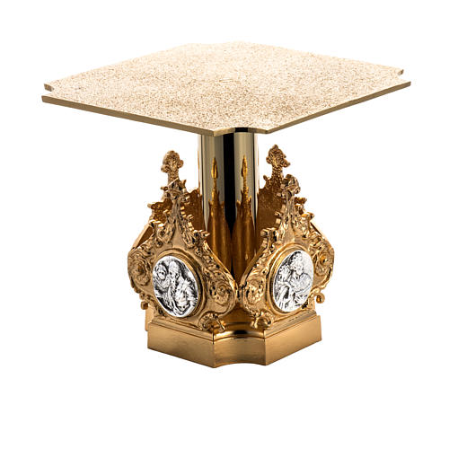 Monstrance throne in brass with 4 evangelists 1
