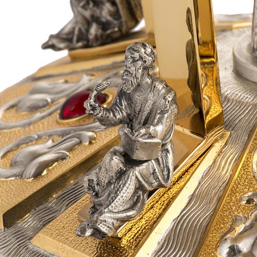 Trono latón con base bronce 4 Evangelistas 6