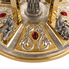 Monstrance throne in brass with bronze base and 4 evangelists s2