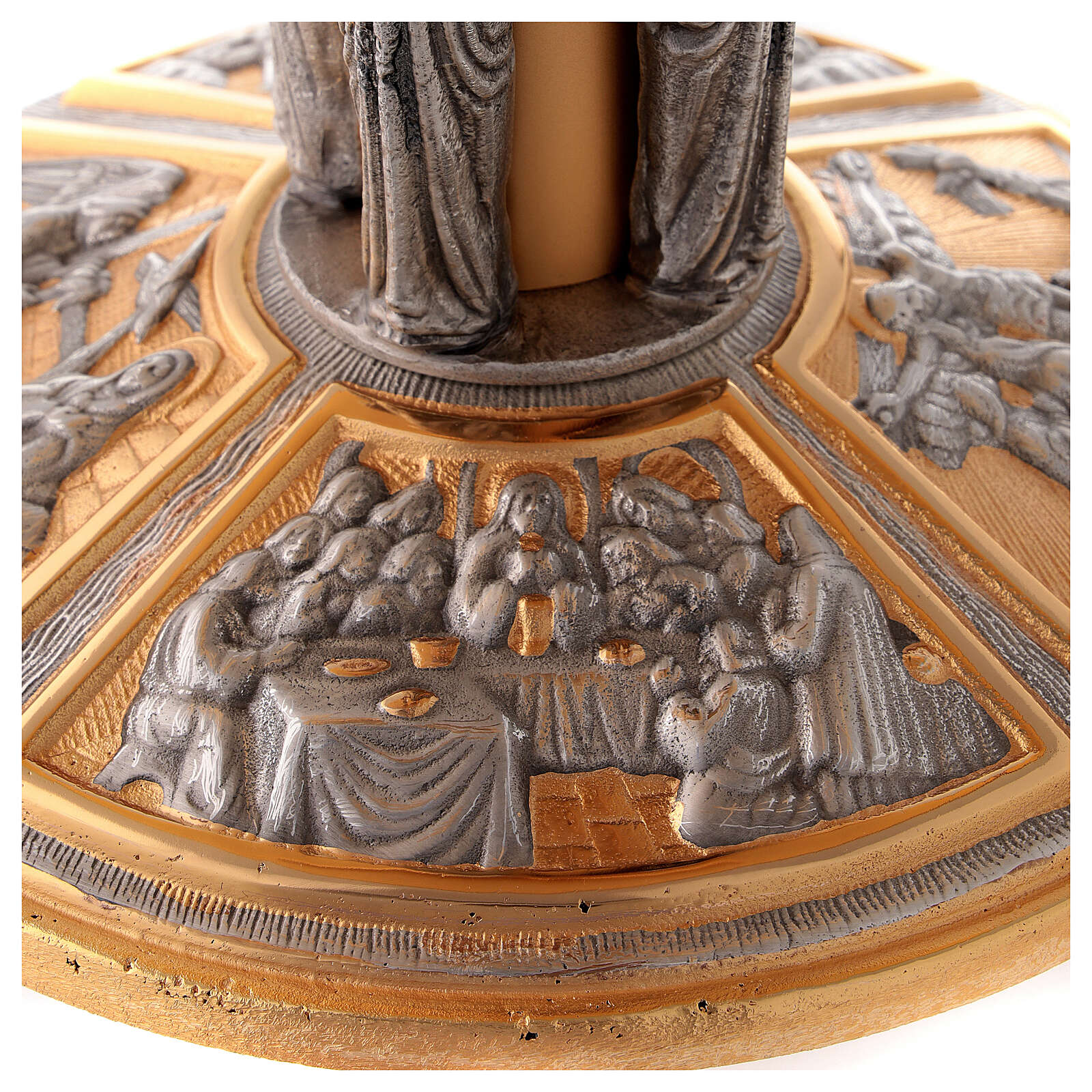 Monstrance throne in brass with images on foot 4