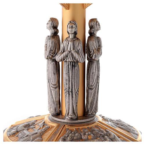 Tronetto ottone angeli e scene sul piede 2