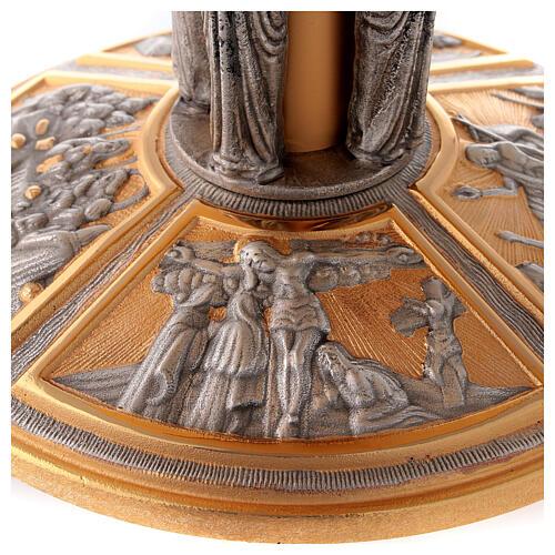 Tronetto ottone angeli e scene sul piede 4