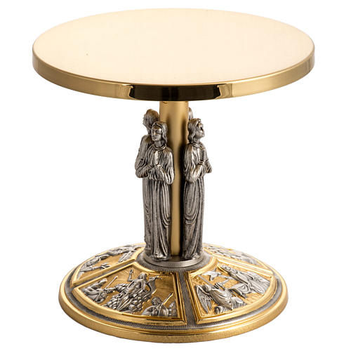 Monstrance throne in brass with images on foot 1