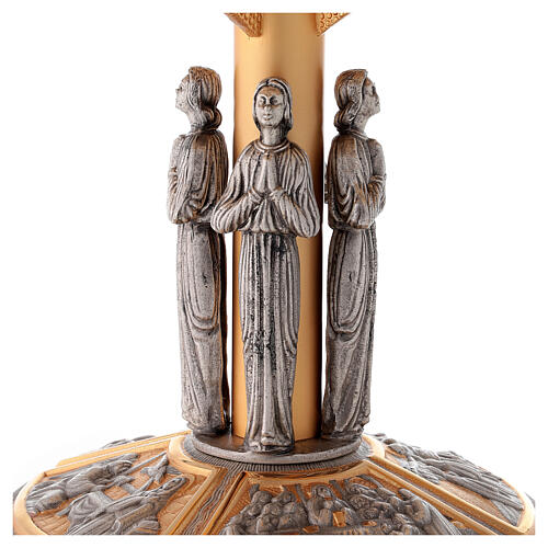 Monstrance throne in brass with images on foot 2