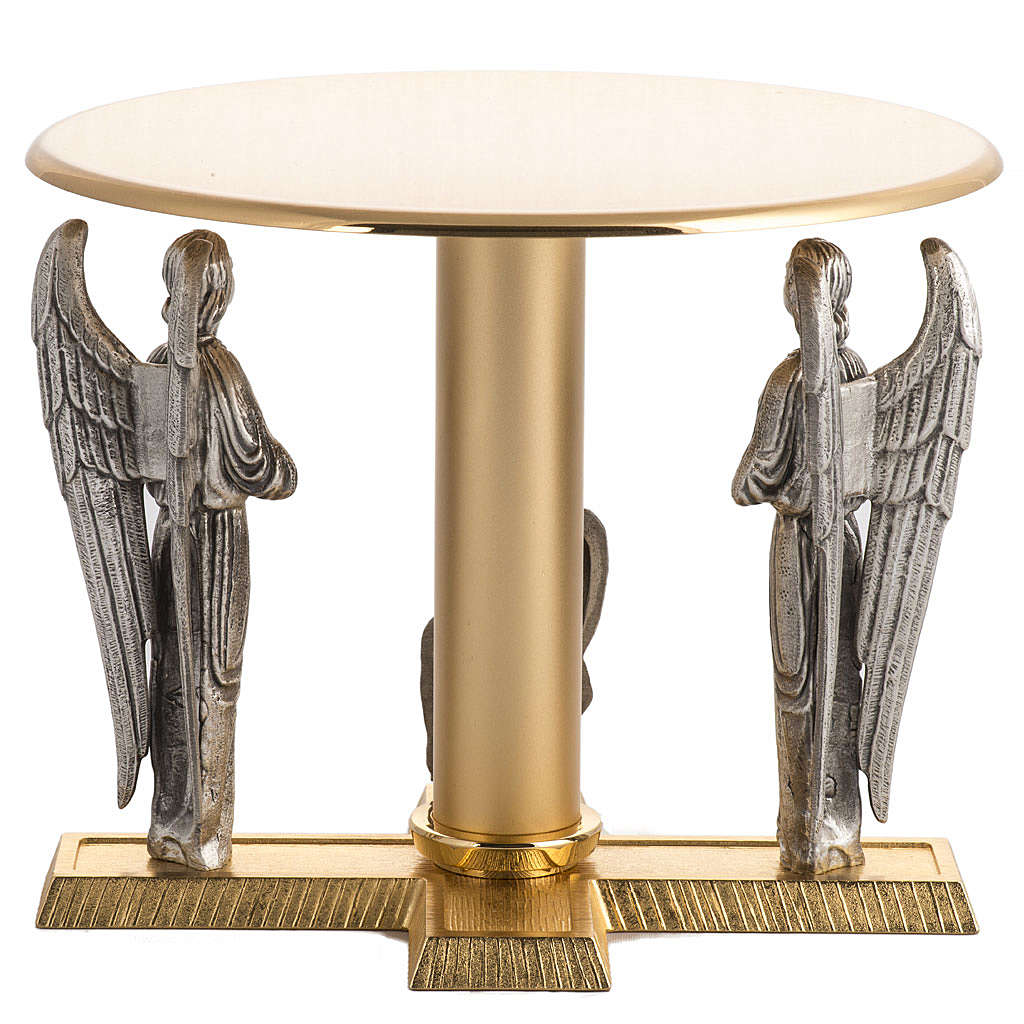 Monstrance throne in brass with angels and Lamb in bronze 4