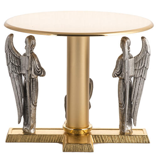 Monstrance throne in brass with angels and Lamb in bronze 5