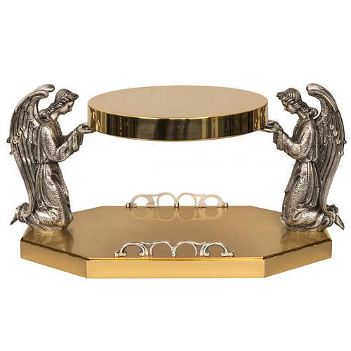 Tronetto ottone angeli in preghiera in bronzo 1