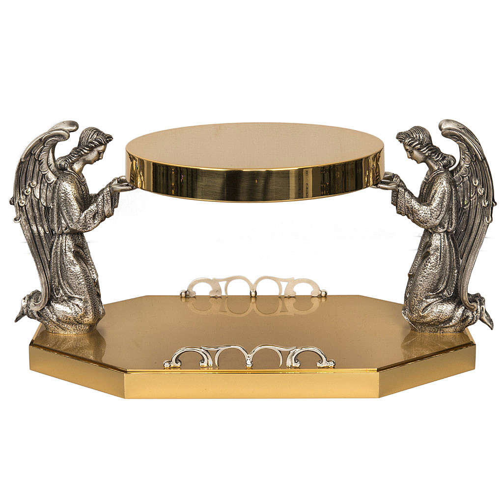 Monstrance throne in brass with bronze angels 4