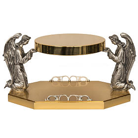 Monstrance throne in brass with bronze angels s1