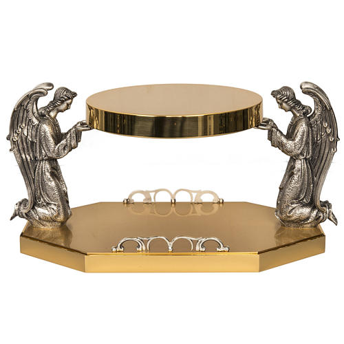Monstrance throne in brass with bronze angels 1