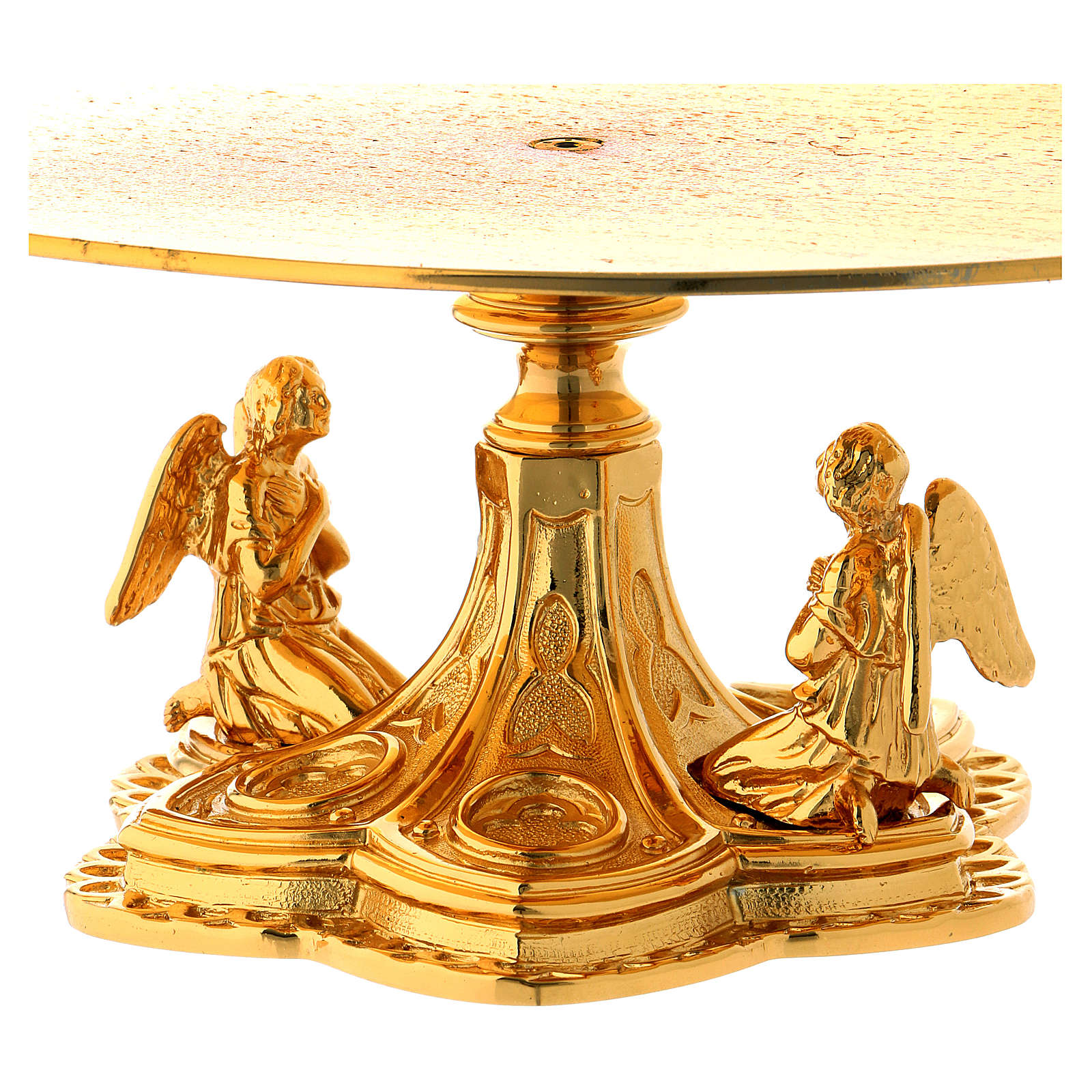Monstrance throne in gold-plated brass with angels 4