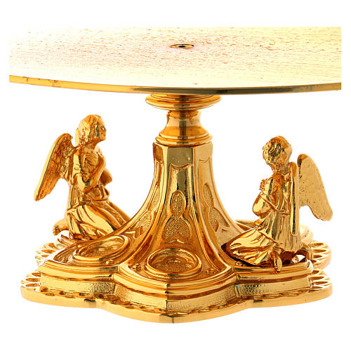 Monstrance throne in gold-plated brass with angels 2