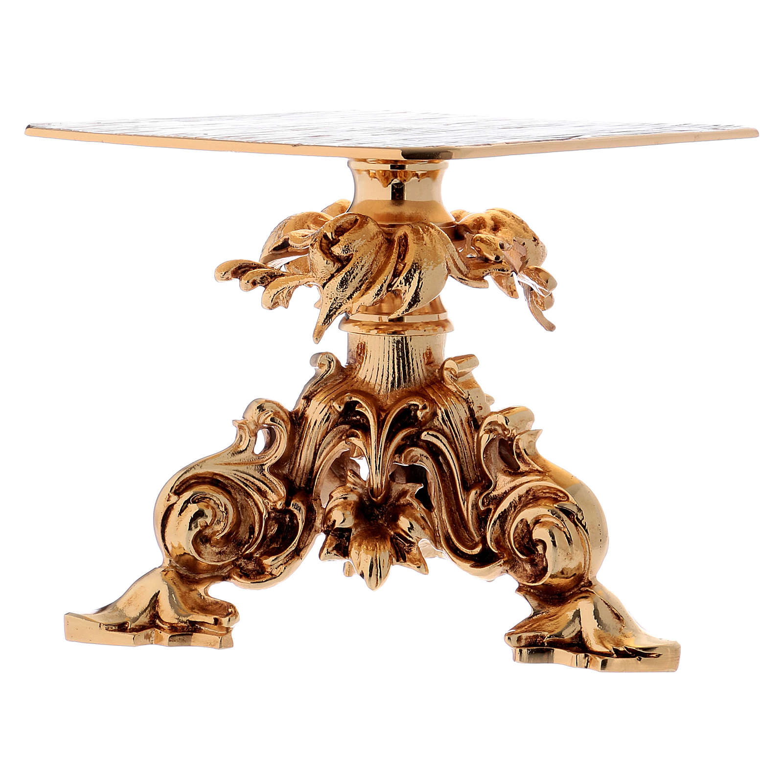 Monstrance stand 24x22cm gold-plated brass, baroque style 4