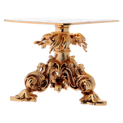 Monstrance stand 24x22cm gold-plated brass, baroque style 5