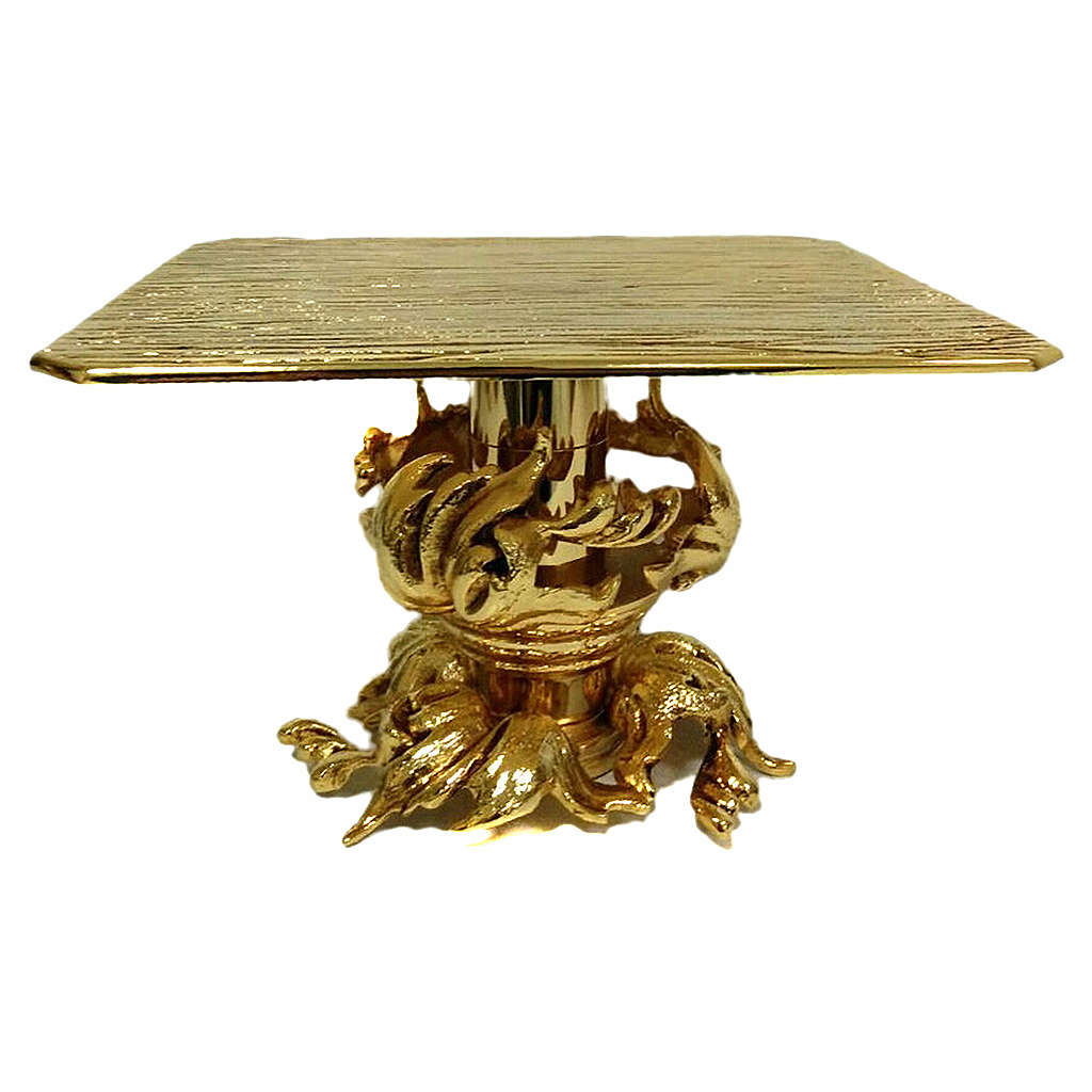 Monstrance stand in gold-plated brass 7 inch tall 4