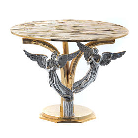 Monstrance throne in fused brass two-coloured with angels s1