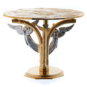 Monstrance throne in fused brass two-coloured with angels s3
