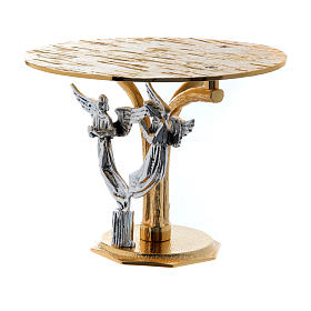 Monstrance throne in fused brass two-coloured with angels s4