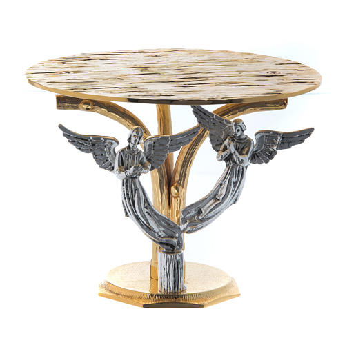 Monstrance throne in fused brass two-coloured with angels 1