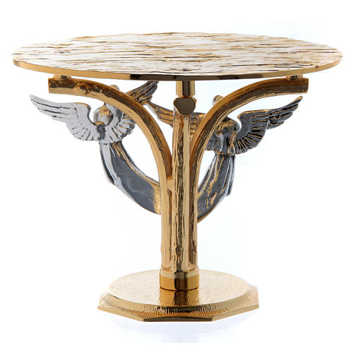 Monstrance throne in fused brass two-coloured with angels 3