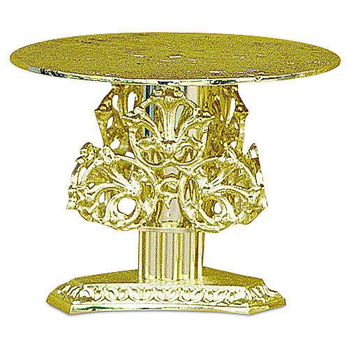 Base per ostensorio decori ottone dorato fuso h 14 cm 4