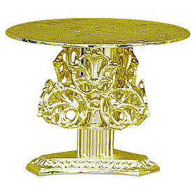 Monstrance throne with decorations in fused brass wet in gold 14 cm s1