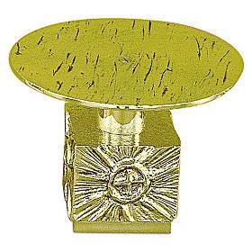 Tronetto ottone fuso h 14 cm - piatto 18,5 cm s1