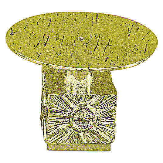 Monstrance throne in fused brass wet in gold 14 cm- plate 18,5 cm 4