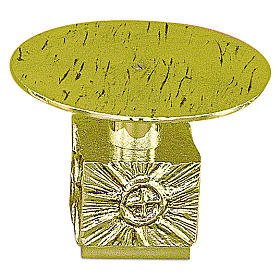 Monstrance throne in fused brass wet in gold 14 cm- plate 18,5 cm s1